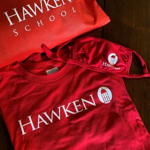 Hawken School shirt, mask, and bag