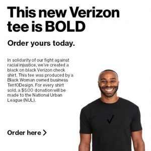 This new Verizon tee is BOLD. Verizon tshirt advertisement
